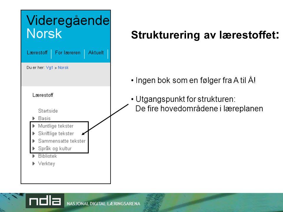 NASJONAL DIGITAL LÆRINGSARENA Strukturering av lærestoffet : • Ingen bok som en følger fra A til Å! • Utgangspunkt for strukturen: De fire hovedområde