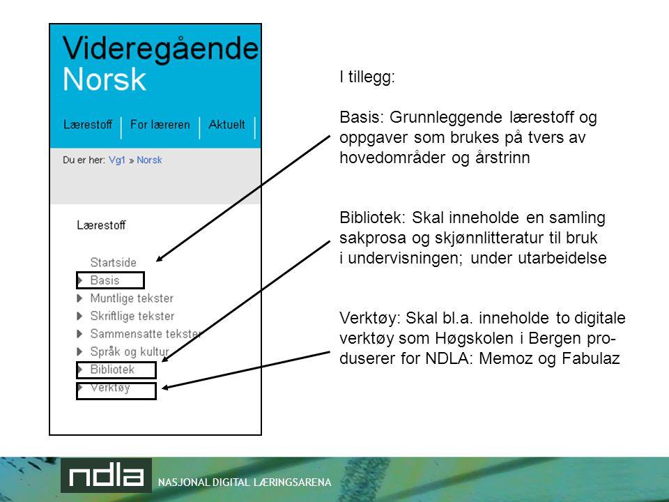 NASJONAL DIGITAL LÆRINGSARENA I tillegg: Basis: Grunnleggende lærestoff og oppgaver som brukes på tvers av hovedområder og årstrinn Bibliotek: Skal in