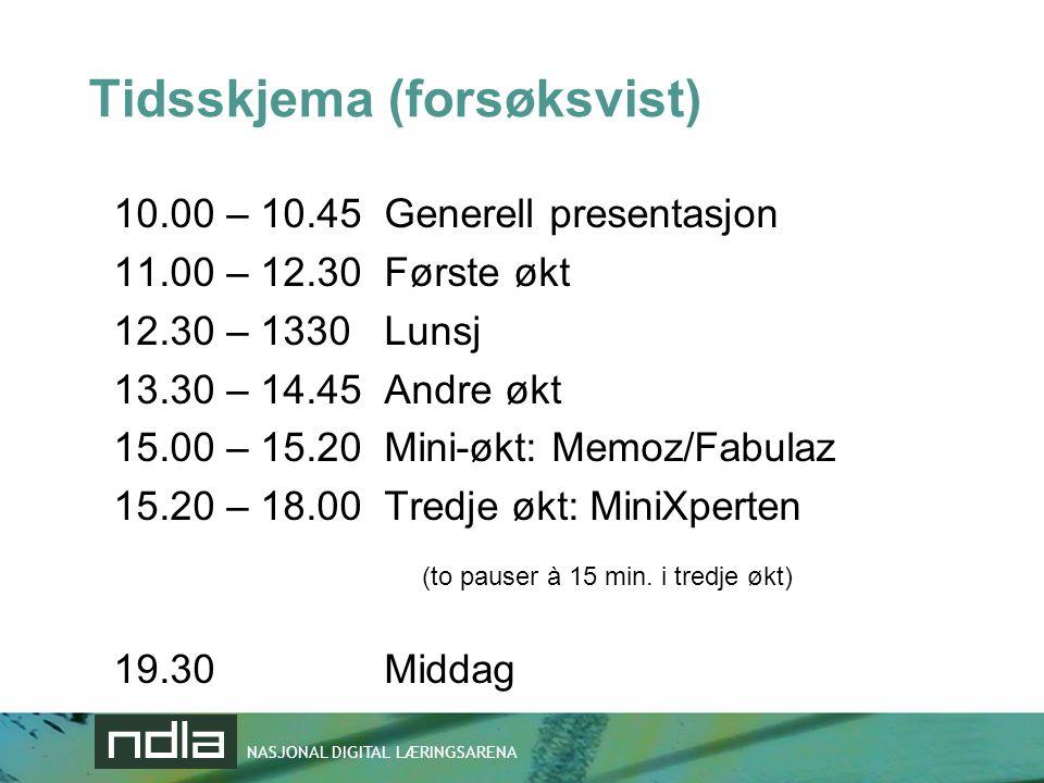 NASJONAL DIGITAL LÆRINGSARENA Tidsskjema (forsøksvist) 10.00 – 10.45 Generell presentasjon 11.00 – 12.30 Første økt 12.30 – 1330 Lunsj 13.30 – 14.45 A