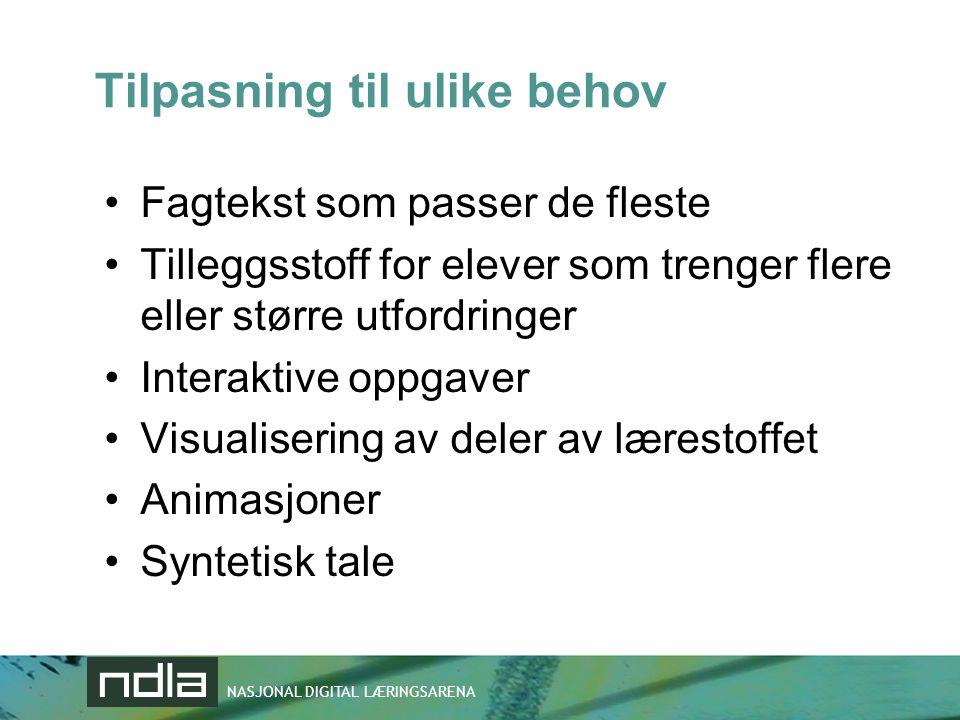 NASJONAL DIGITAL LÆRINGSARENA Nettadresse til norsksidene (Kjekt å ha liggende på Favoritter!)