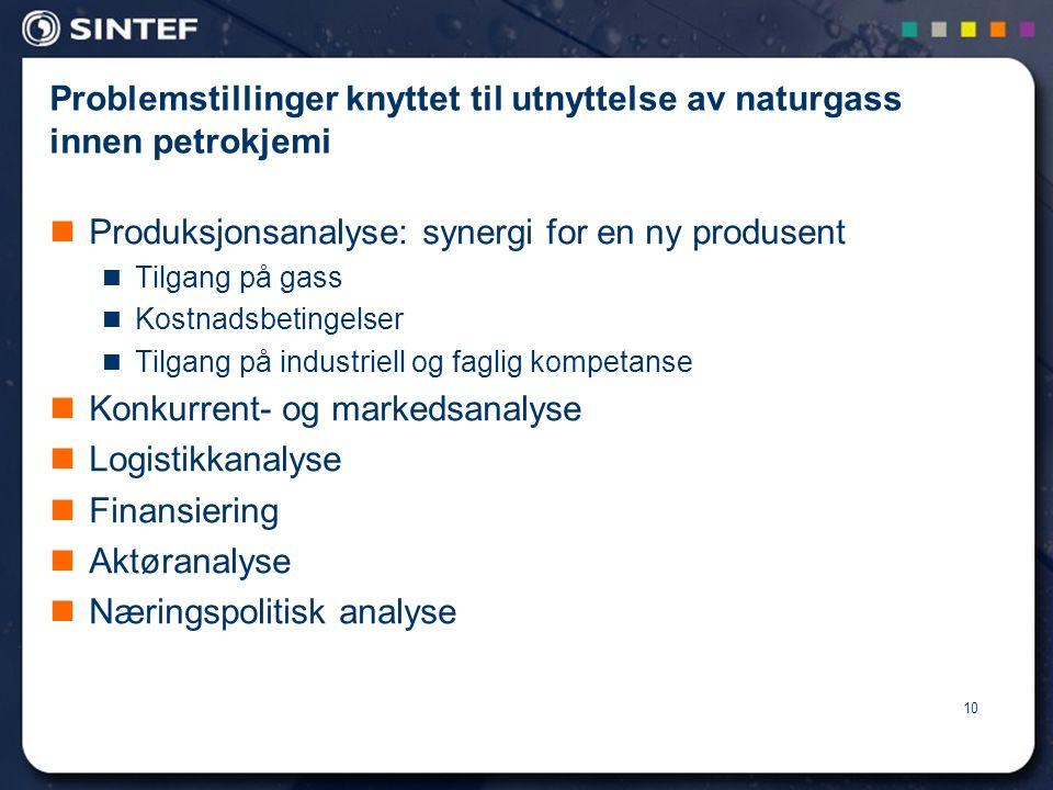 10 Problemstillinger knyttet til utnyttelse av naturgass innen petrokjemi  Produksjonsanalyse: synergi for en ny produsent  Tilgang på gass  Kostnadsbetingelser  Tilgang på industriell og faglig kompetanse  Konkurrent- og markedsanalyse  Logistikkanalyse  Finansiering  Aktøranalyse  Næringspolitisk analyse