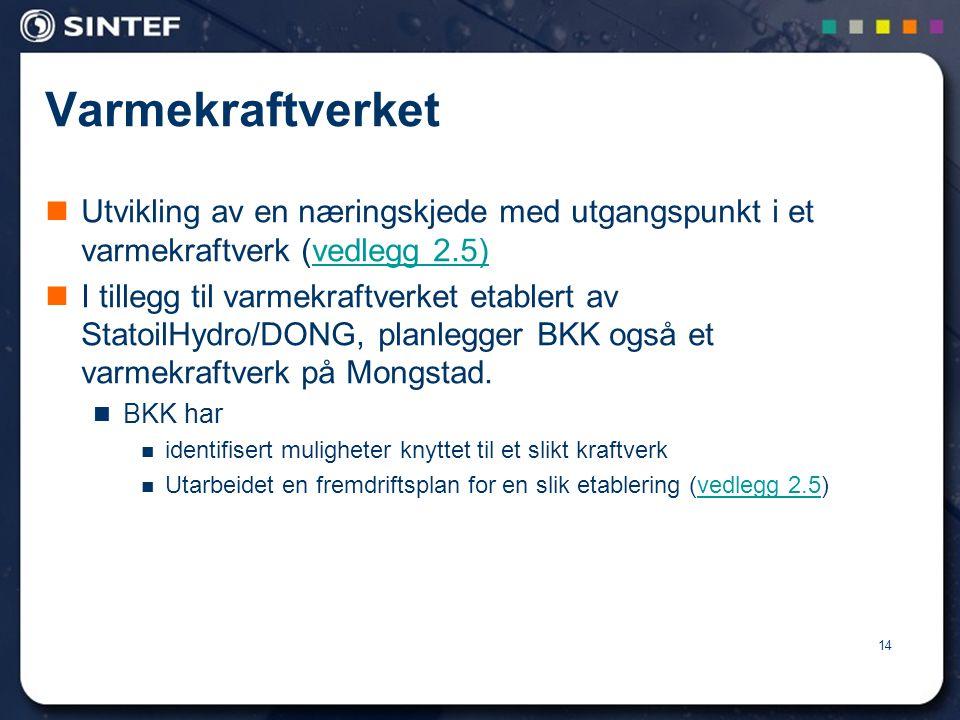 14 Varmekraftverket  Utvikling av en næringskjede med utgangspunkt i et varmekraftverk (vedlegg 2.5)vedlegg 2.5)  I tillegg til varmekraftverket etablert av StatoilHydro/DONG, planlegger BKK også et varmekraftverk på Mongstad.