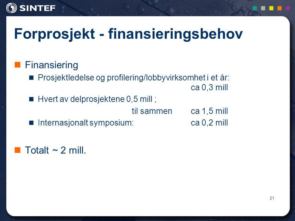 21 Forprosjekt - finansieringsbehov  Finansiering  Prosjektledelse og profilering/lobbyvirksomhet i et år: ca 0,3 mill  Hvert av delprosjektene 0,5 mill ; til sammen ca 1,5 mill  Internasjonalt symposium: ca 0,2 mill  Totalt ~ 2 mill.
