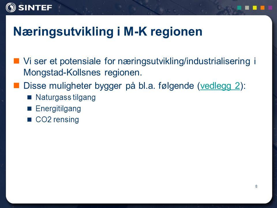 8 Næringsutvikling i M-K regionen  Vi ser et potensiale for næringsutvikling/industrialisering i Mongstad-Kollsnes regionen.