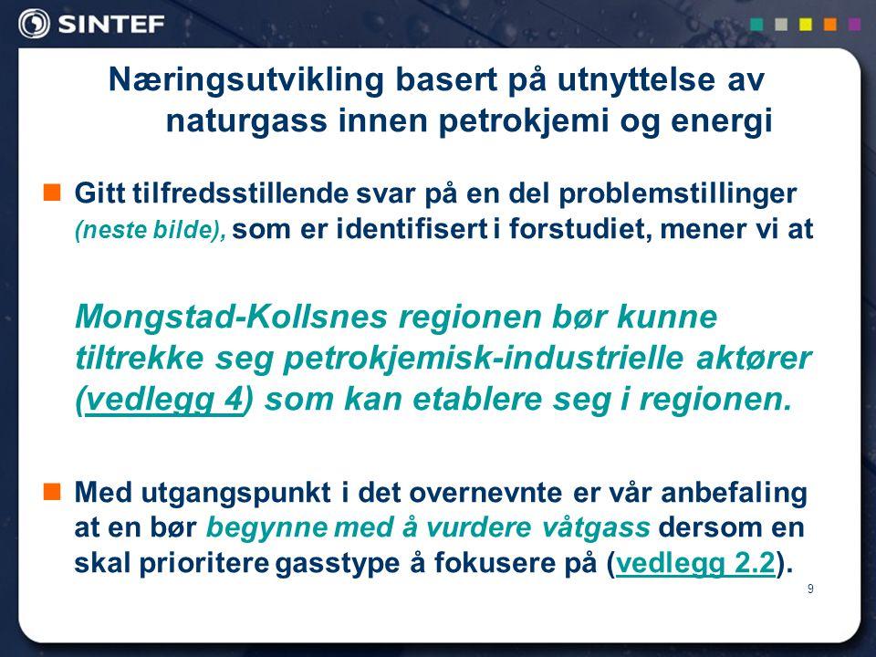 9 Næringsutvikling basert på utnyttelse av naturgass innen petrokjemi og energi  Gitt tilfredsstillende svar på en del problemstillinger (neste bilde), som er identifisert i forstudiet, mener vi at Mongstad-Kollsnes regionen bør kunne tiltrekke seg petrokjemisk-industrielle aktører (vedlegg 4) som kan etablere seg i regionen.vedlegg 4  Med utgangspunkt i det overnevnte er vår anbefaling at en bør begynne med å vurdere våtgass dersom en skal prioritere gasstype å fokusere på (vedlegg 2.2).vedlegg 2.2
