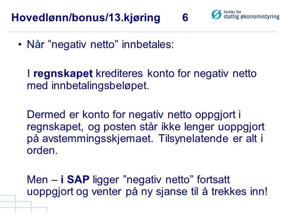 """Hovedlønn/bonus/13.kjøring 6 •Når """"negativ netto"""" innbetales: I regnskapet krediteres konto for negativ netto med innbetalingsbeløpet. Dermed er konto"""