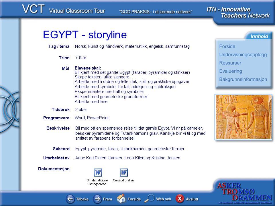 EGYPT - storyline Dokumentasjon Utarbeidet avAnne Kari Flaten Hansen, Lena Kilen og Kristine Jensen Elevene skal: Bli kjent med det gamle Egypt (farao