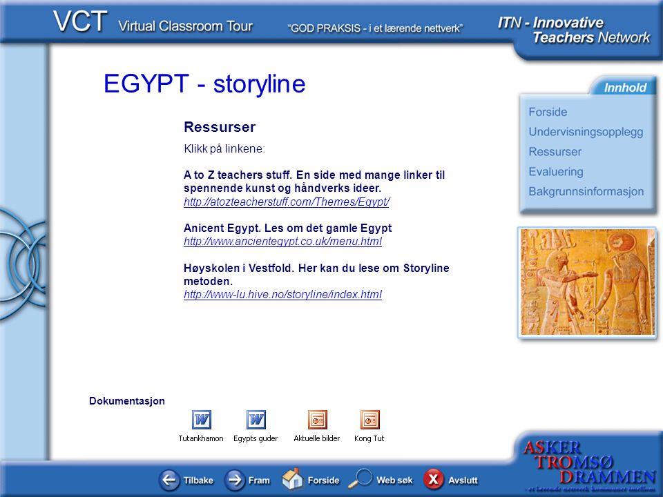 EGYPT - storyline Ressurser Klikk på linkene: A to Z teachers stuff. En side med mange linker til spennende kunst og håndverks ideer. http://atozteach