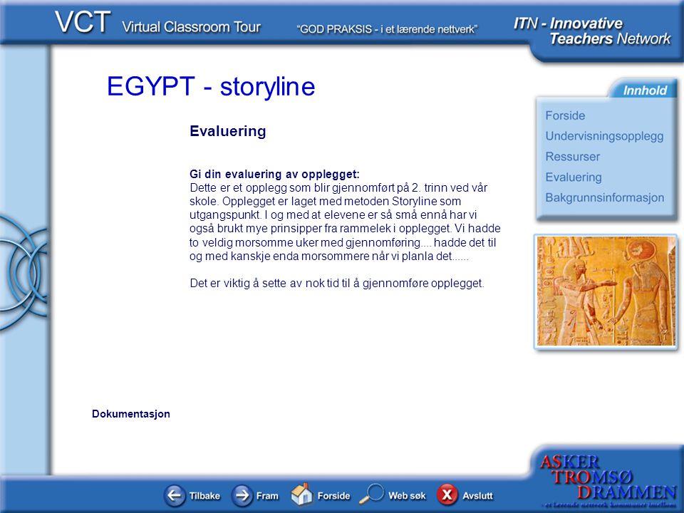 EGYPT - storyline Evaluering Gi din evaluering av opplegget: Dette er et opplegg som blir gjennomført på 2. trinn ved vår skole. Opplegget er laget me
