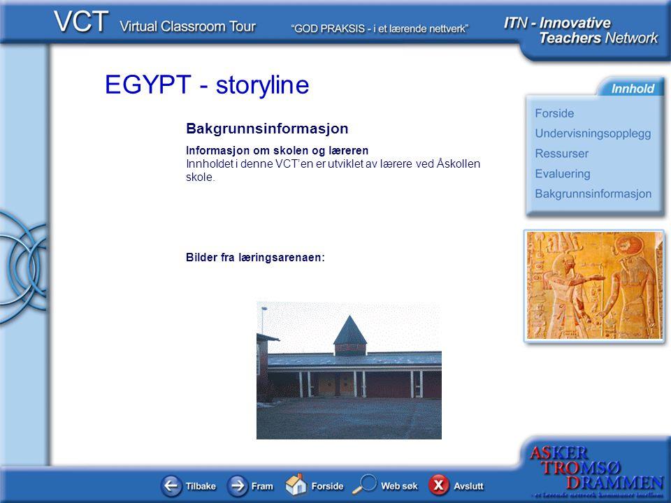 EGYPT - storyline Bakgrunnsinformasjon Informasjon om skolen og læreren Innholdet i denne VCT'en er utviklet av lærere ved Åskollen skole. Bilder fra