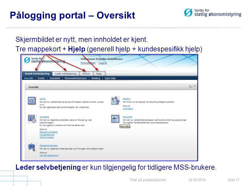 Tittel på presentasjonenSide 1124.06.2014 Pålogging portal – Oversikt Skjermbildet er nytt, men innholdet er kjent. Tre mappekort + Hjelp (generell hj