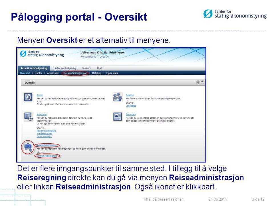 Tittel på presentasjonenSide 1224.06.2014 Pålogging portal - Oversikt Menyen Oversikt er et alternativ til menyene. Det er flere inngangspunkter til s