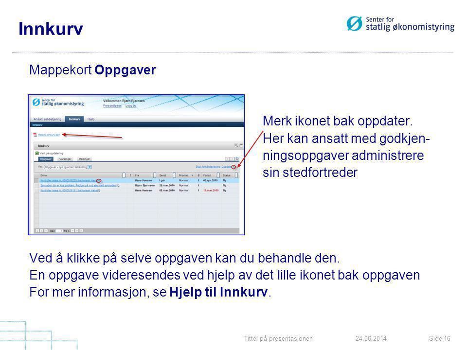 Tittel på presentasjonenSide 1624.06.2014 Innkurv Mappekort Oppgaver Merk ikonet bak oppdater. Her kan ansatt med godkjen- ningsoppgaver administrere