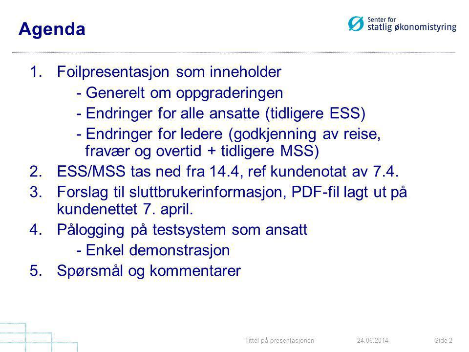 Tittel på presentasjonenSide 1324.06.2014 Sammenligning portal/gammel ESS Innkurv blir eget mappekort Oversikt er nytt menypunkt i tillegg til Kontor, Arbeidstid, Betaling etc.