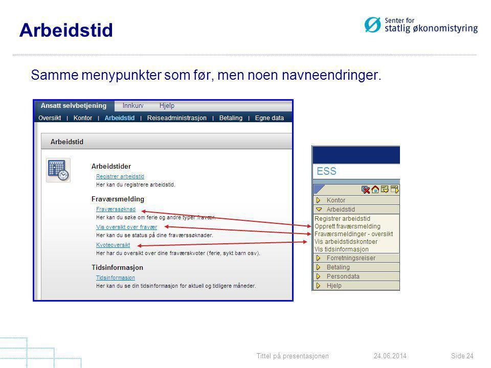 Tittel på presentasjonenSide 2424.06.2014 Arbeidstid Samme menypunkter som før, men noen navneendringer.