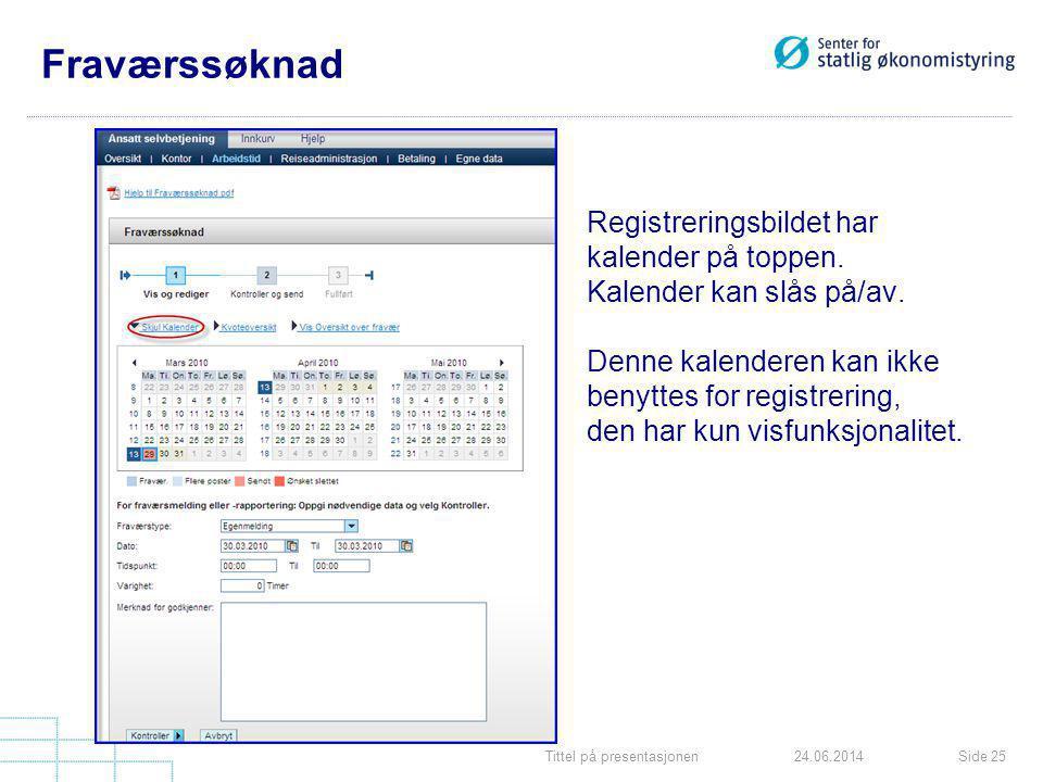 Tittel på presentasjonenSide 2524.06.2014 Fraværssøknad Registreringsbildet har kalender på toppen. Kalender kan slås på/av. Denne kalenderen kan ikke