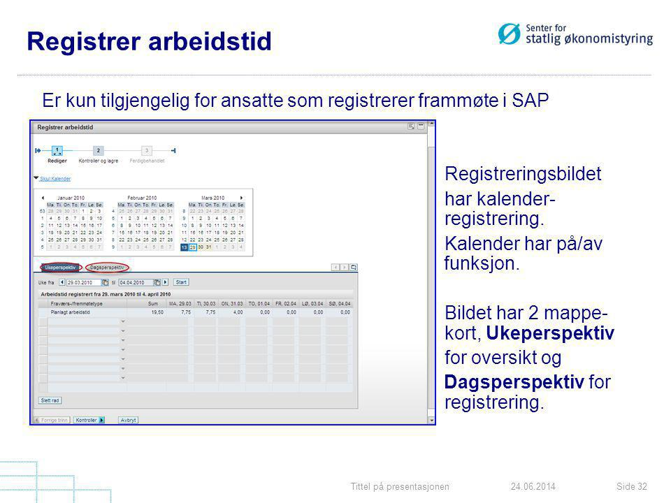 Tittel på presentasjonenSide 3224.06.2014 Registrer arbeidstid Er kun tilgjengelig for ansatte som registrerer frammøte i SAP Registreringsbildet har