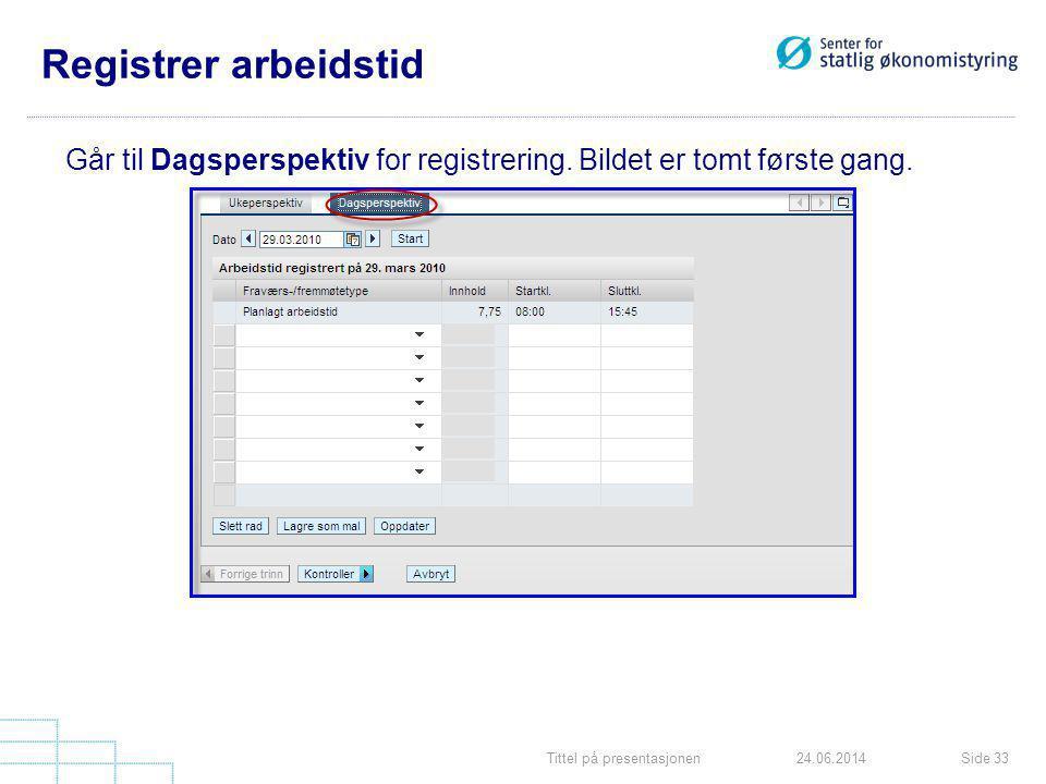Tittel på presentasjonenSide 3324.06.2014 Registrer arbeidstid Går til Dagsperspektiv for registrering. Bildet er tomt første gang.