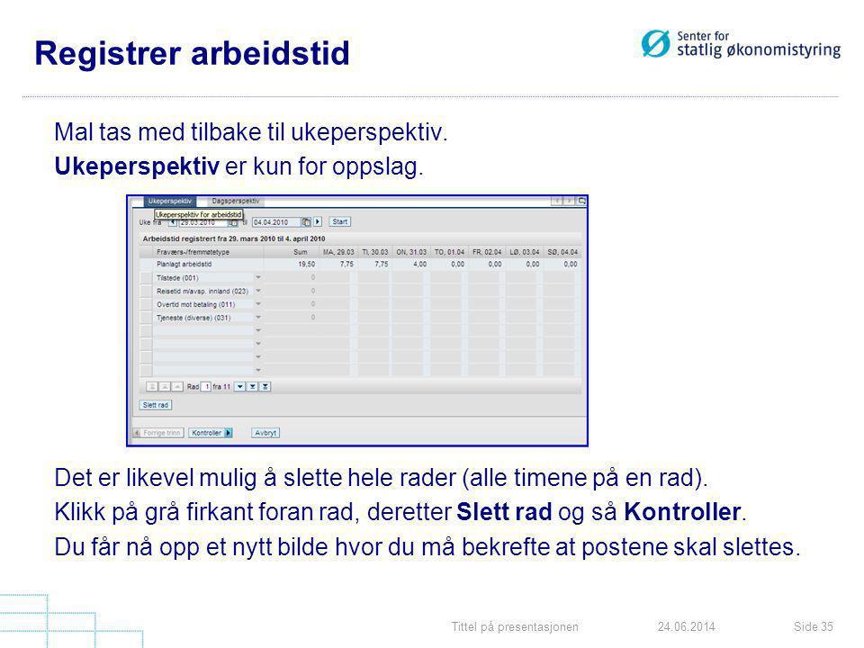 Tittel på presentasjonenSide 3524.06.2014 Registrer arbeidstid Mal tas med tilbake til ukeperspektiv. Ukeperspektiv er kun for oppslag. Det er likevel