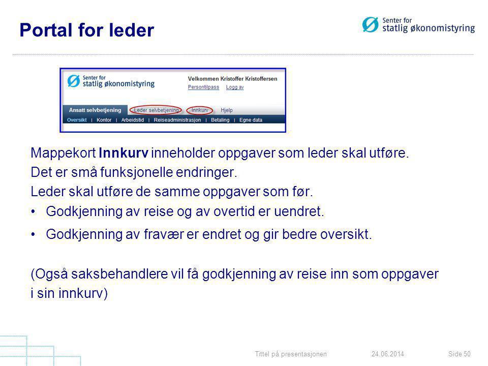 Tittel på presentasjonenSide 5024.06.2014 Portal for leder Mappekort Innkurv inneholder oppgaver som leder skal utføre. Det er små funksjonelle endrin