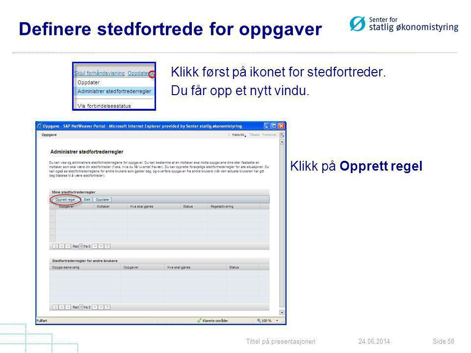 Tittel på presentasjonenSide 5824.06.2014 Definere stedfortrede for oppgaver Klikk først på ikonet for stedfortreder. Du får opp et nytt vindu. Klikk