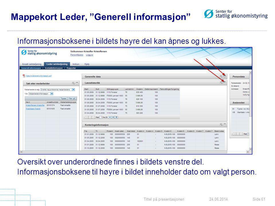 """Tittel på presentasjonenSide 6124.06.2014 Mappekort Leder, """"Generell informasjon"""" Informasjonsboksene i bildets høyre del kan åpnes og lukkes. Oversik"""