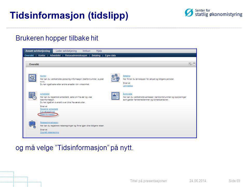 """Tittel på presentasjonenSide 6924.06.2014 Tidsinformasjon (tidslipp) Brukeren hopper tilbake hit og må velge """"Tidsinformasjon"""" på nytt."""