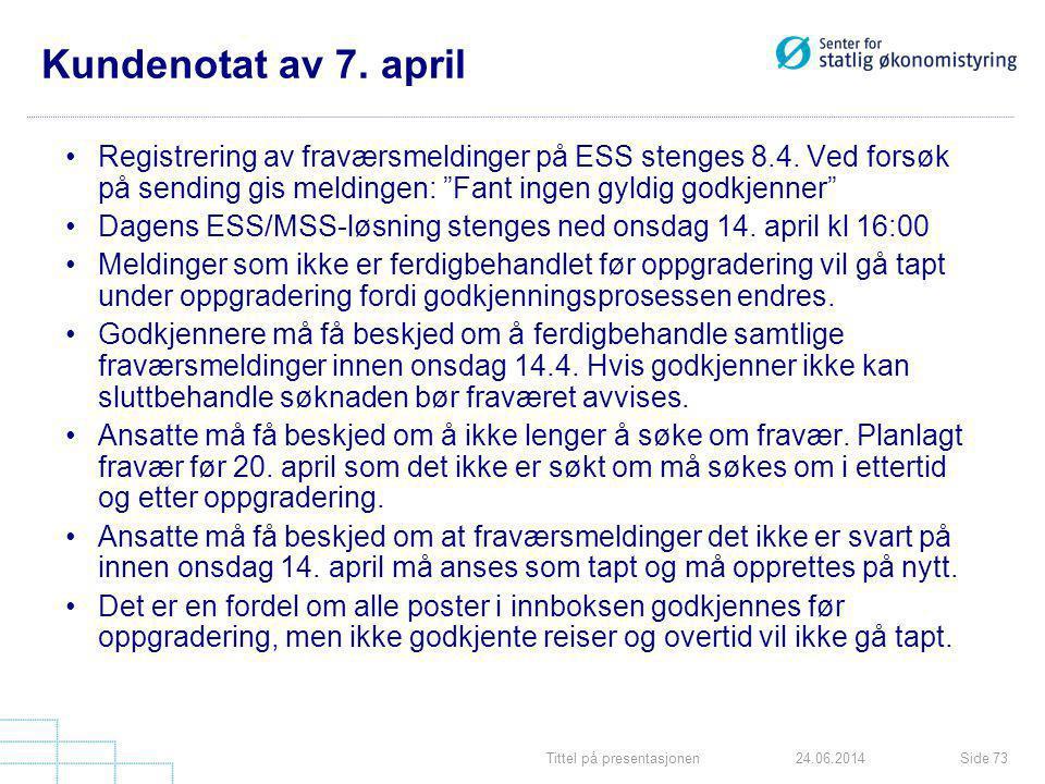 Tittel på presentasjonenSide 7324.06.2014 Kundenotat av 7. april •Registrering av fraværsmeldinger på ESS stenges 8.4. Ved forsøk på sending gis meldi