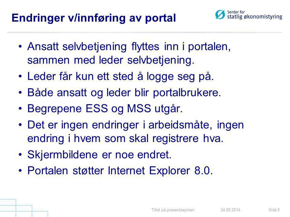 Tittel på presentasjonenSide 924.06.2014 Endringer v/innføring av portal •Ansatt selvbetjening flyttes inn i portalen, sammen med leder selvbetjening.
