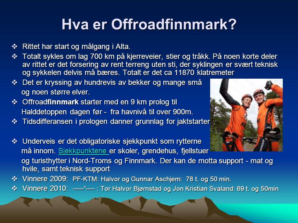 Hva er Offroadfinnmark. Rittet har start og målgang i Alta.
