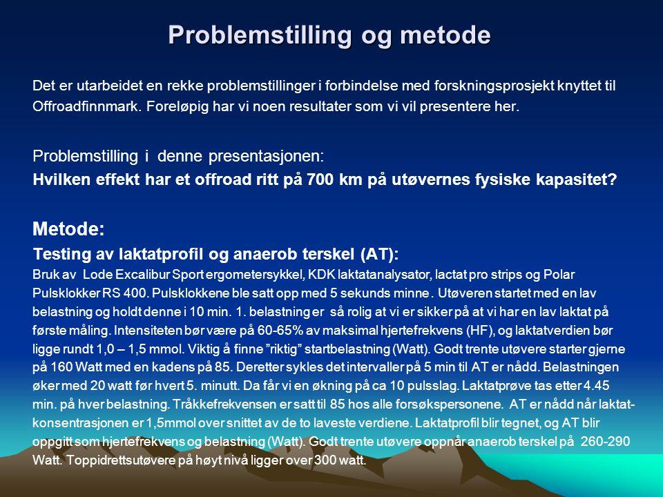 Problemstilling og metode Det er utarbeidet en rekke problemstillinger i forbindelse med forskningsprosjekt knyttet til Offroadfinnmark. Foreløpig har