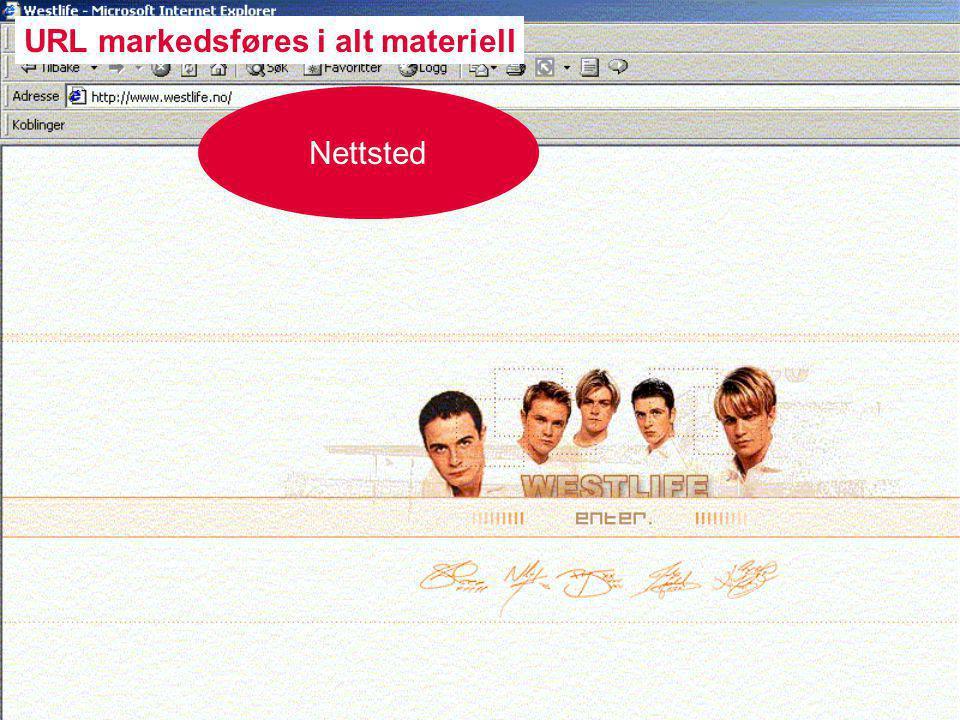 Nettsted URL markedsføres i alt materiell