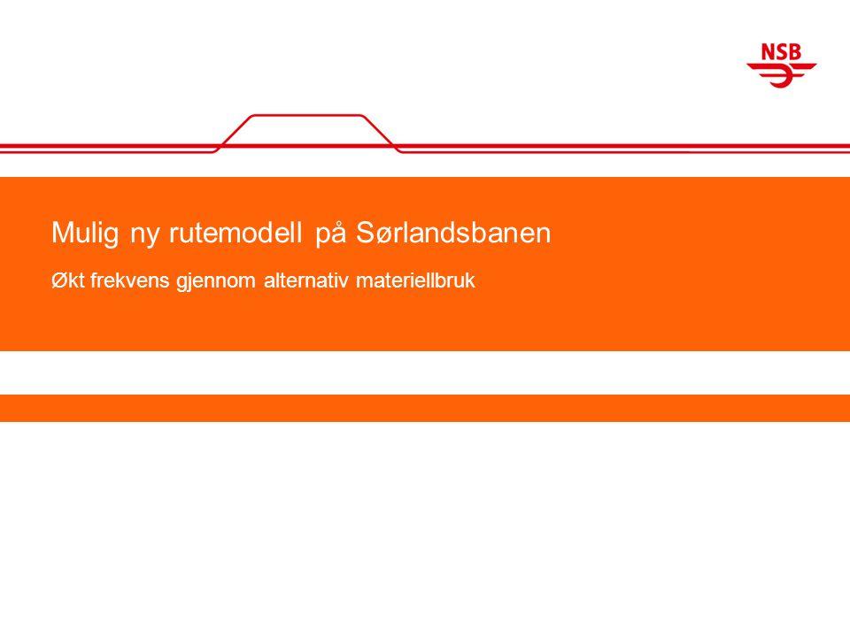 Mulig ny rutemodell på Sørlandsbanen Økt frekvens gjennom alternativ materiellbruk