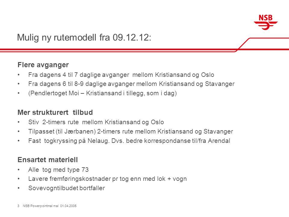 Mulig ny rutemodell fra 09.12.12: Flere avganger •Fra dagens 4 til 7 daglige avganger mellom Kristiansand og Oslo •Fra dagens 6 til 8-9 daglige avgang