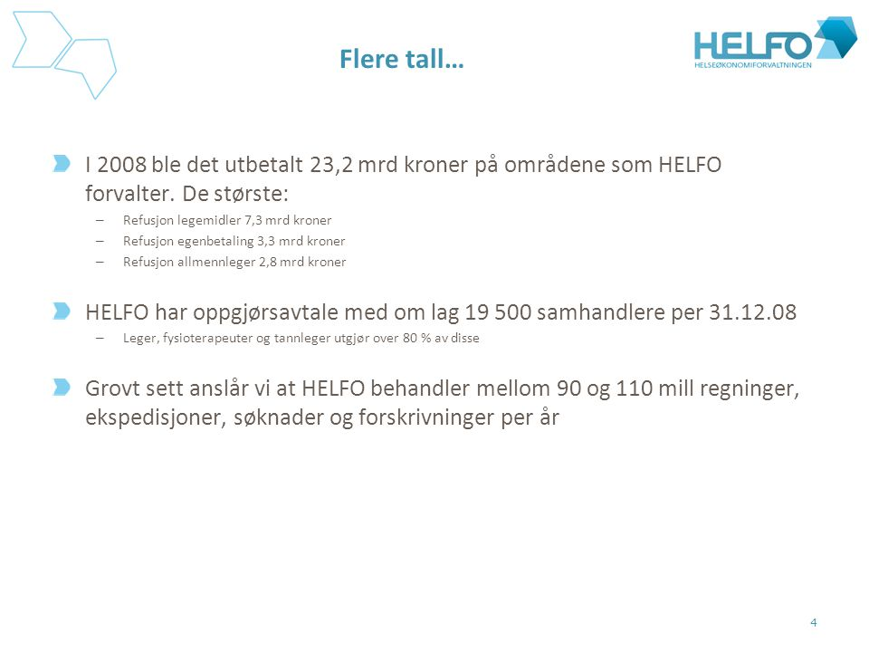Flere tall… I 2008 ble det utbetalt 23,2 mrd kroner på områdene som HELFO forvalter. De største: – Refusjon legemidler 7,3 mrd kroner – Refusjon egenb