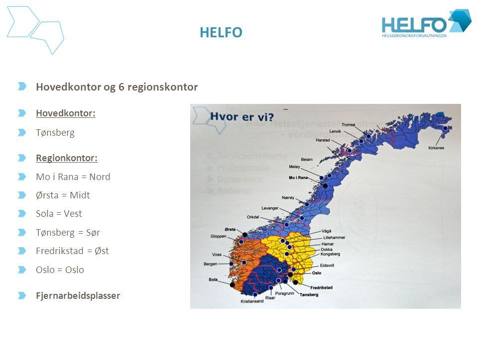 HELFO Hovedkontor og 6 regionskontor Hovedkontor: Tønsberg Regionkontor: Mo i Rana = Nord Ørsta = Midt Sola = Vest Tønsberg = Sør Fredrikstad = Øst Os