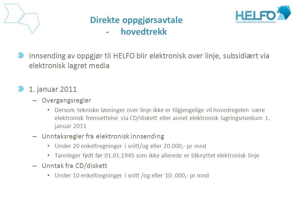 Direkte oppgjørsavtale -hovedtrekk Innsending av oppgjør til HELFO blir elektronisk over linje, subsidiært via elektronisk lagret media 1. januar 2011