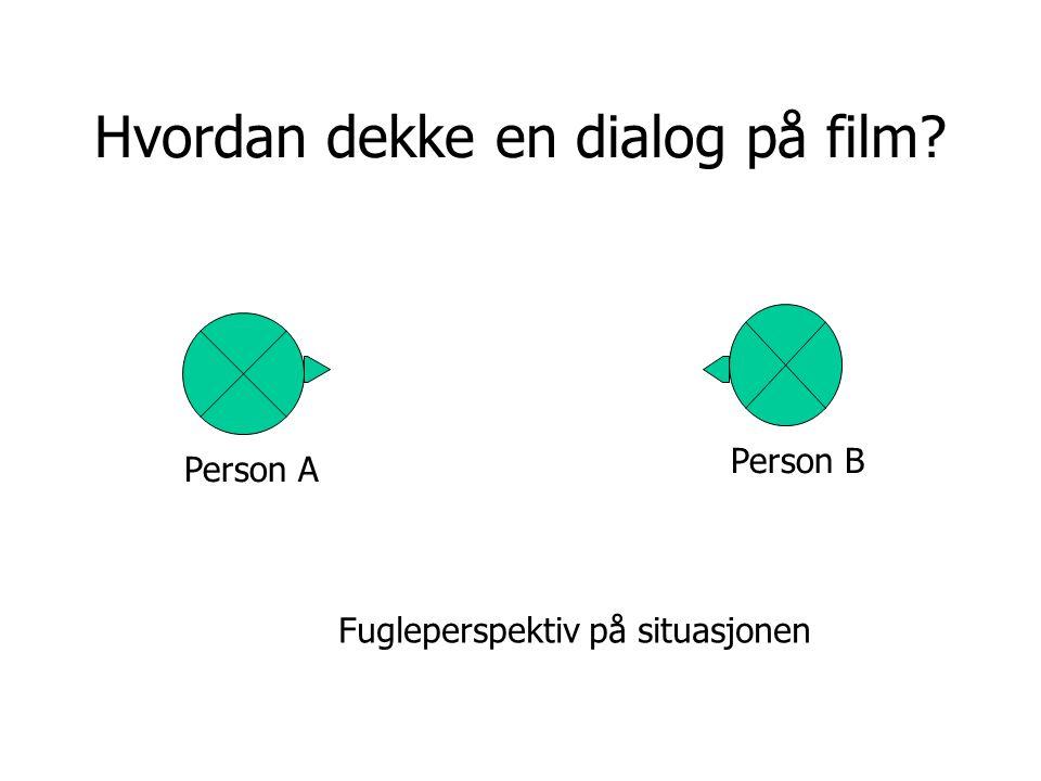 Person A Person B Hvordan dekke en dialog på film? Fugleperspektiv på situasjonen