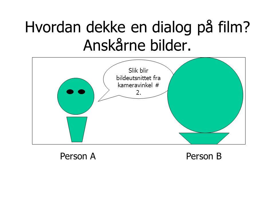 Person A Hvordan dekke en dialog på film? Anskårne bilder. Slik blir bildeutsnittet fra kameravinkel # 2. Person B
