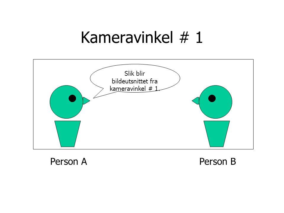Person APerson B Kameravinkel # 1 Slik blir bildeutsnittet fra kameravinkel # 1.