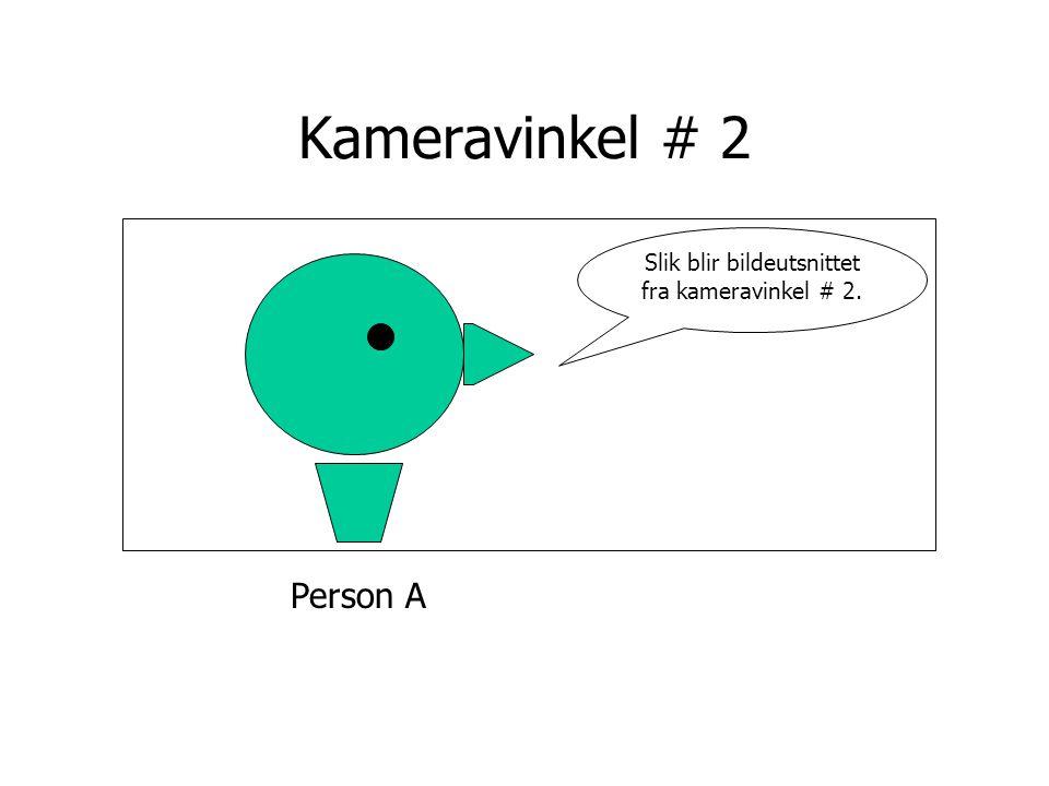 Person A Kameravinkel # 2 Slik blir bildeutsnittet fra kameravinkel # 2.