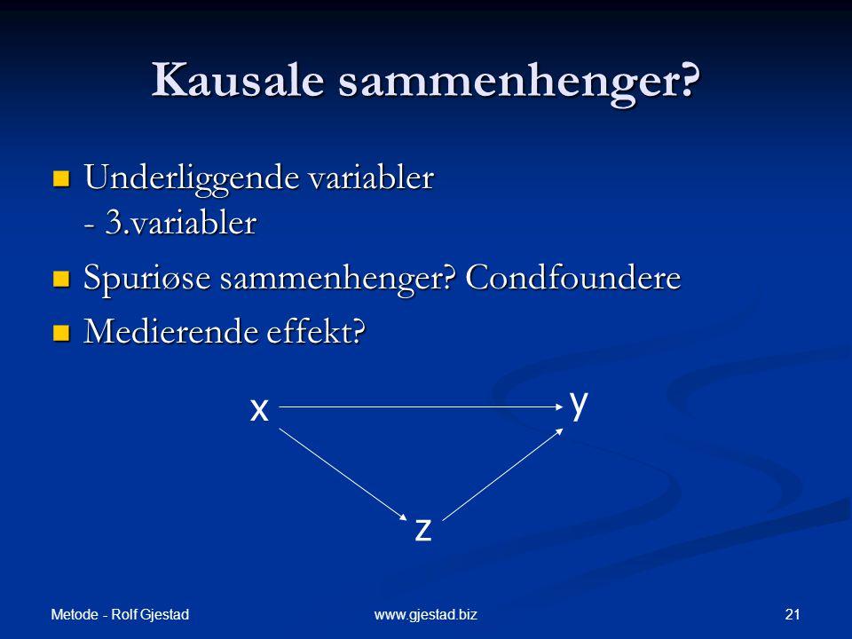 Metode - Rolf Gjestad 21www.gjestad.biz Kausale sammenhenger?  Underliggende variabler - 3.variabler  Spuriøse sammenhenger? Condfoundere  Medieren