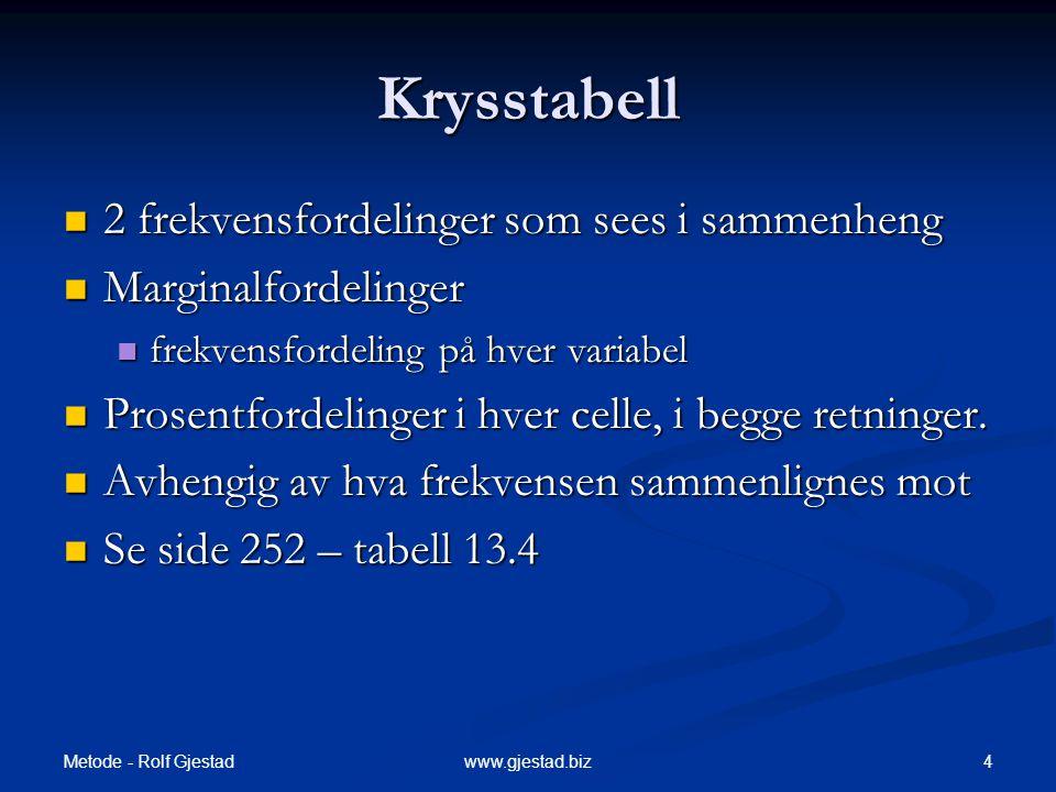 Metode - Rolf Gjestad 25www.gjestad.biz To Bivariate Sammenhenger  Kontroll for tredje variabler  Trivariate (3) – et særtilfelle av multivariate  Eks.: prediksjon av inntekt  Prediktorer: Utdanning (H L), Yrkesstatus (H L), Kjønn, Ansinitet.