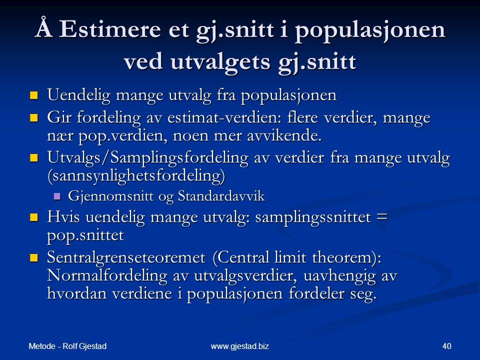 Metode - Rolf Gjestad 40www.gjestad.biz Å Estimere et gj.snitt i populasjonen ved utvalgets gj.snitt  Uendelig mange utvalg fra populasjonen  Gir fo