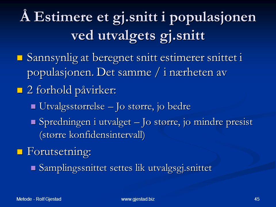 Metode - Rolf Gjestad 45www.gjestad.biz Å Estimere et gj.snitt i populasjonen ved utvalgets gj.snitt  Sannsynlig at beregnet snitt estimerer snittet