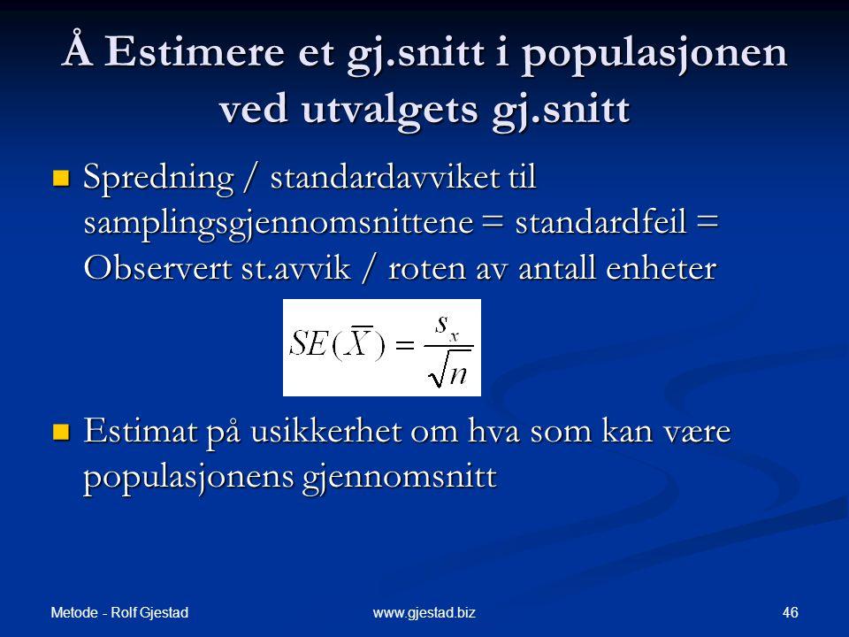 Metode - Rolf Gjestad 46www.gjestad.biz Å Estimere et gj.snitt i populasjonen ved utvalgets gj.snitt  Spredning / standardavviket til samplingsgjenno