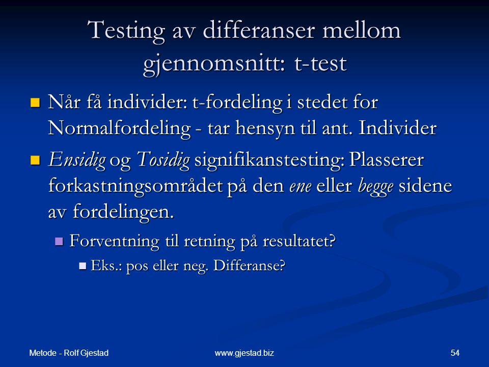 Metode - Rolf Gjestad 54www.gjestad.biz Testing av differanser mellom gjennomsnitt: t-test  Når få individer: t-fordeling i stedet for Normalfordelin