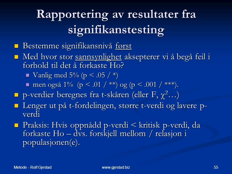 Metode - Rolf Gjestad 55www.gjestad.biz Rapportering av resultater fra signifikanstesting  Bestemme signifikansnivå først  Med hvor stor sannsynligh