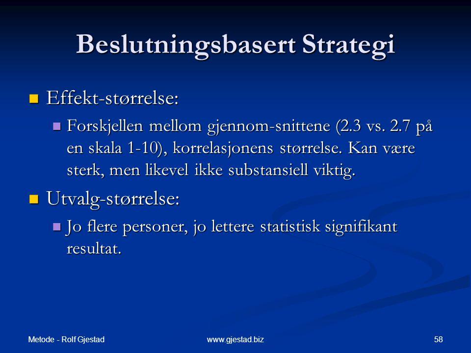 Metode - Rolf Gjestad 58www.gjestad.biz Beslutningsbasert Strategi  Effekt-størrelse:  Forskjellen mellom gjennom-snittene (2.3 vs. 2.7 på en skala