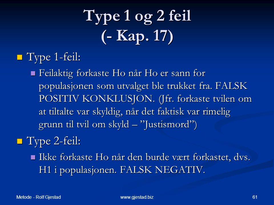 Metode - Rolf Gjestad 61www.gjestad.biz Type 1 og 2 feil (- Kap. 17)  Type 1-feil:  Feilaktig forkaste Ho når Ho er sann for populasjonen som utvalg